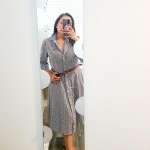 POLO SPORT Blue White Striped Shirt Dress XL